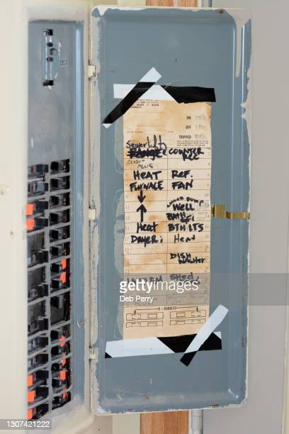 old electrical breaker box, or fuse box, or circuit box - electrical panel box stock pictures, royalty-free photos & images