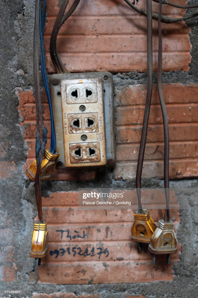 Old Electrical Outlet And Plugs On A Wall Kon Tum Vietnam ... on