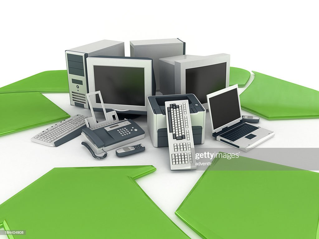 Old electronics recycling : Stock Photo