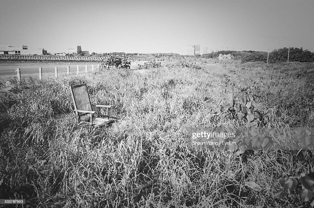 Old Empty Chair In Tall Grass Field : Foto stock