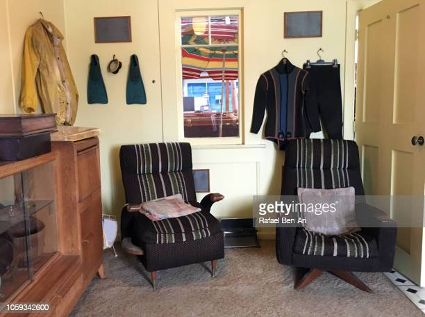 old empty living room furniture - rafael ben ari stock pictures, royalty-free photos & images