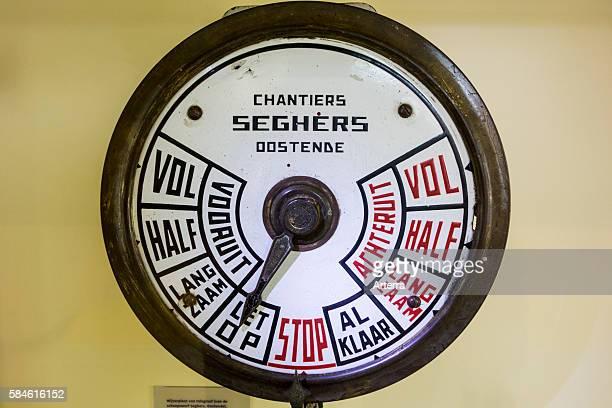 Old engine order telegraph / EOT / chadburn of fishing boat at Navigo the National Fisheries Museum at Koksijde / Coxyde Belgium