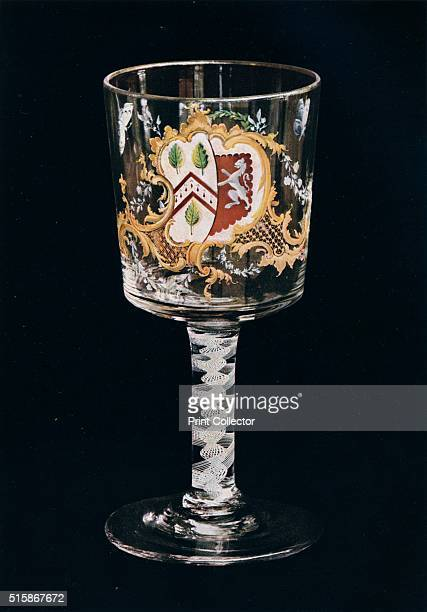 Old English Glass Goblet' circa 1775 The coat of arms of Cooper impaling Franks a heraldic crest representing the joining of two houses or...