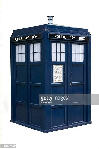 old english police box isolated - time travel stock pictures, royalty-free photos & images