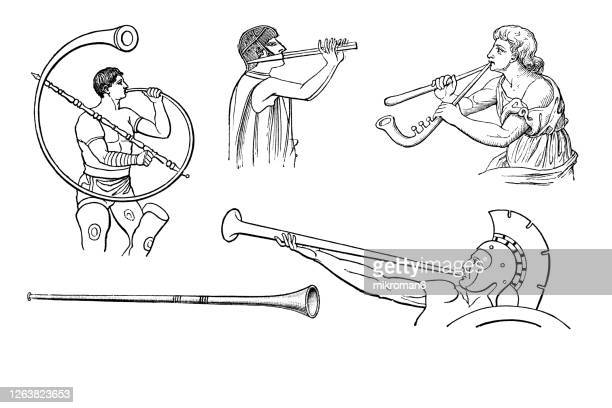 old engraved illustration of a ancient musical instruments - musical symbol stock pictures, royalty-free photos & images