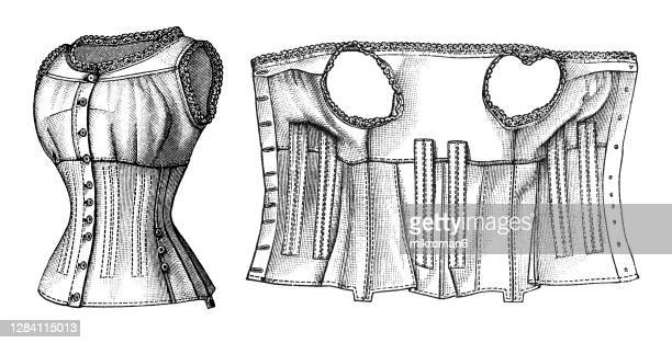 old engraved illustration of a corset - design stock pictures, royalty-free photos & images