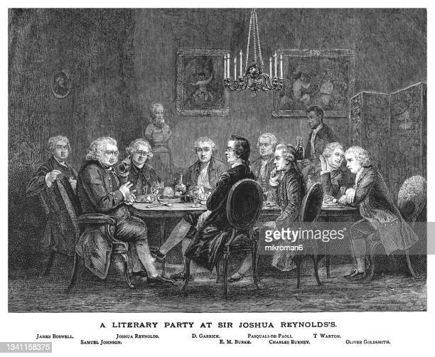 old engraved illustration of a literary party at sir joshua reynolds by james william edmund doyle (london, 1781) - political party stock pictures, royalty-free photos & images