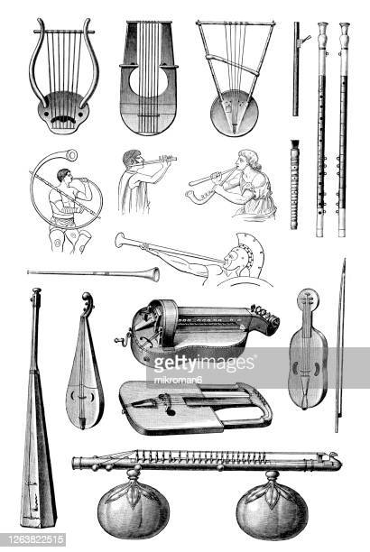 old engraved illustration of a musical instruments - musical symbol stock pictures, royalty-free photos & images