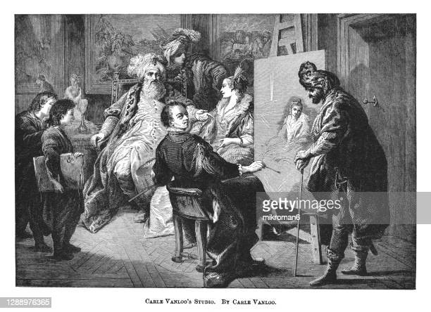 old engraved illustration of a pasha having his mistress's portrait painted by carle van loo - the royal photographic society stock pictures, royalty-free photos & images