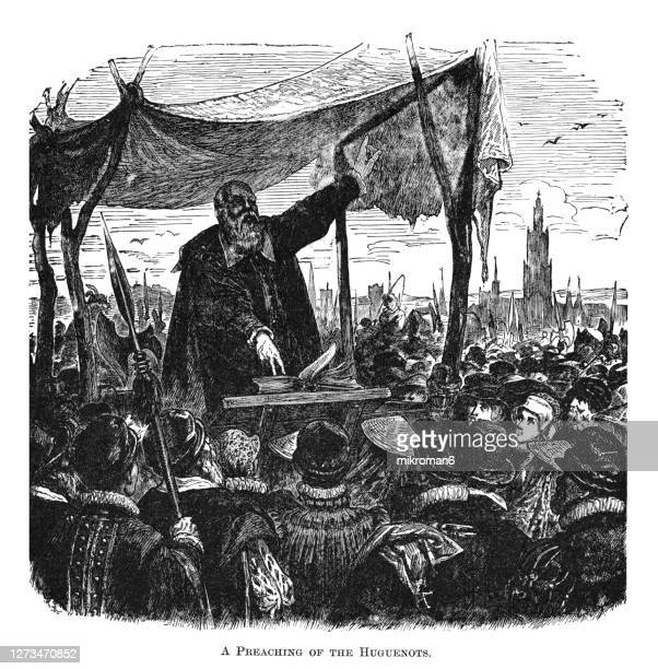 old engraved illustration of a scene of a preaching of the huguenots - governor stock pictures, royalty-free photos & images