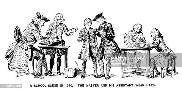 old engraved illustration of a school scene in 1740. - 18th century stock pictures, royalty-free photos & images