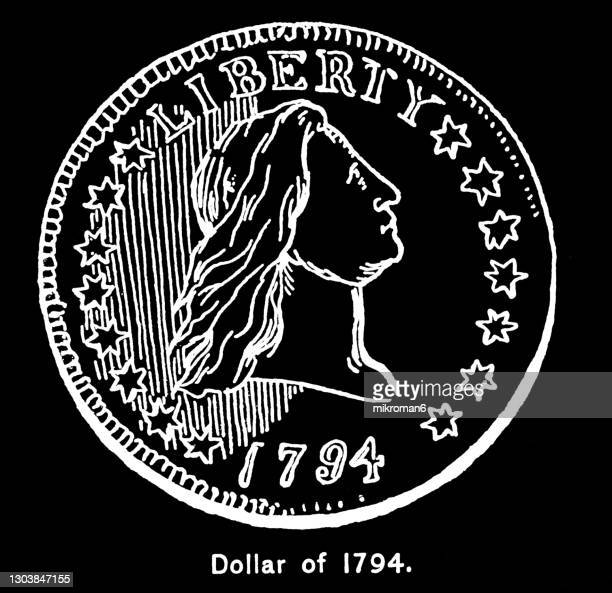 old engraved illustration of american flowing hair silver dollar, first official us dollar coin (1794) - us president stock pictures, royalty-free photos & images