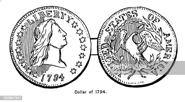 old engraved illustration of american flowing hair silver dollar, first official us dollar coin (1794) - us coin stock pictures, royalty-free photos & images