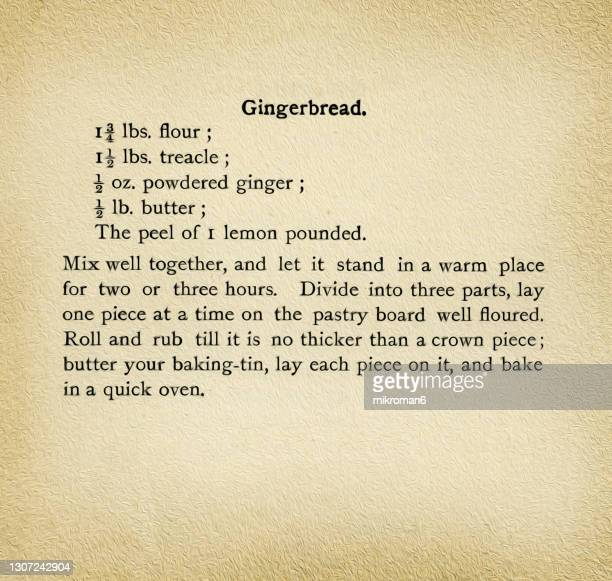 old engraved illustration of antique cookbook cookery recipe, gingerbread - book stock pictures, royalty-free photos & images