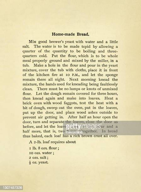 old engraved illustration of antique cookbook cookery recipe, recipe for homemade bread - message stock pictures, royalty-free photos & images