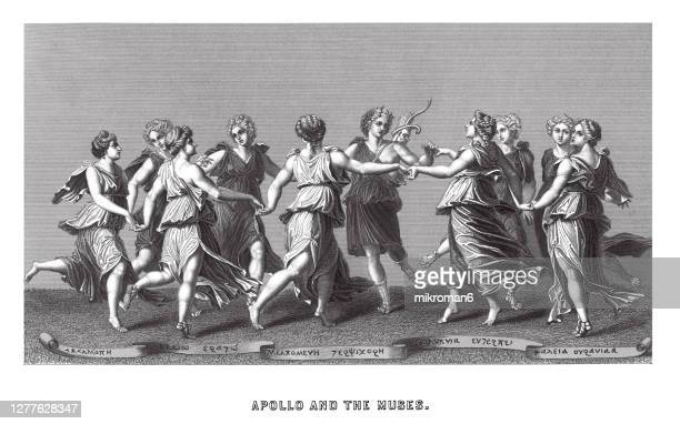 old engraved illustration of apollo and the muses - aktmodel stock-fotos und bilder