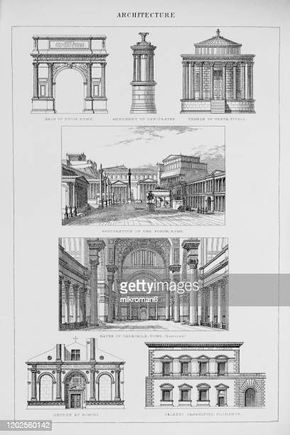 old engraved illustration of architecture, popular encyclopedia published 1894 - engraving stock pictures, royalty-free photos & images