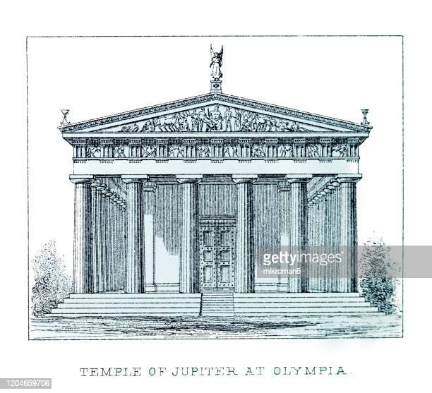old engraved illustration of architecture temple of jupiter optimus maximus at olympia, popular encyclopedia published 1894 - latium stock pictures, royalty-free photos & images