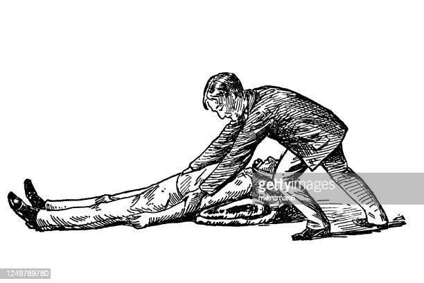old engraved illustration of artificial respiration method of dr. silvester. first help. - restoring stock pictures, royalty-free photos & images