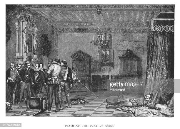 old engraved illustration of assassination of henry i duke of guise, by henry iii - duke bildbanksfoton och bilder