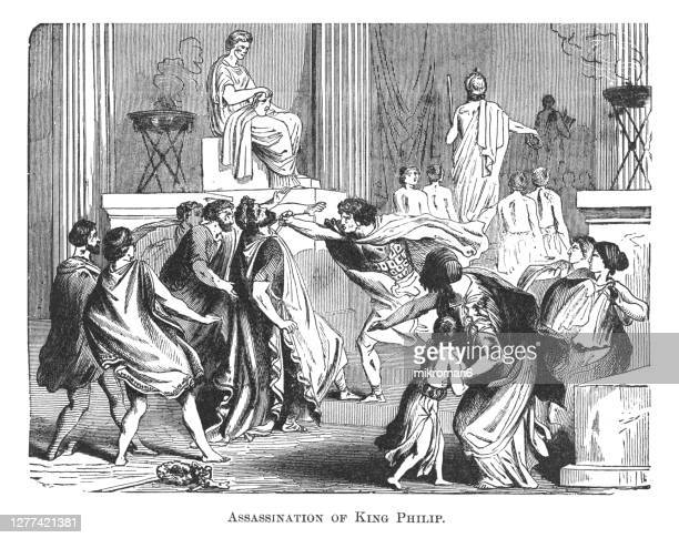 old engraved illustration of assassination of king philip of macedon, father of alexander the great 336 bc - murder stock pictures, royalty-free photos & images