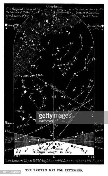 old engraved illustration of astronomy - eastern night sky star chart september. virgo. aug 23-sep 23 - constellation stock pictures, royalty-free photos & images