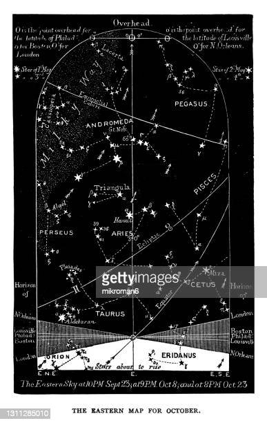 old engraved illustration of astronomy - eastern night sky star chart october. libra. sep 23-oct 23. - constellation stock pictures, royalty-free photos & images