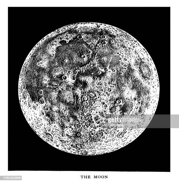 old engraved illustration of astronomy, moon's moon's mountains and craters, lunar topography - twenty five cent coin stock pictures, royalty-free photos & images