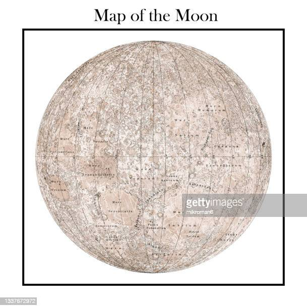 old engraved illustration of astronomy, moon's mountains and craters, lunar topography - space and astronomy stock pictures, royalty-free photos & images