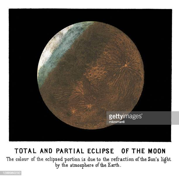 old engraved illustration of astronomy, partial eclipse of the moon - twenty five cent coin stock pictures, royalty-free photos & images