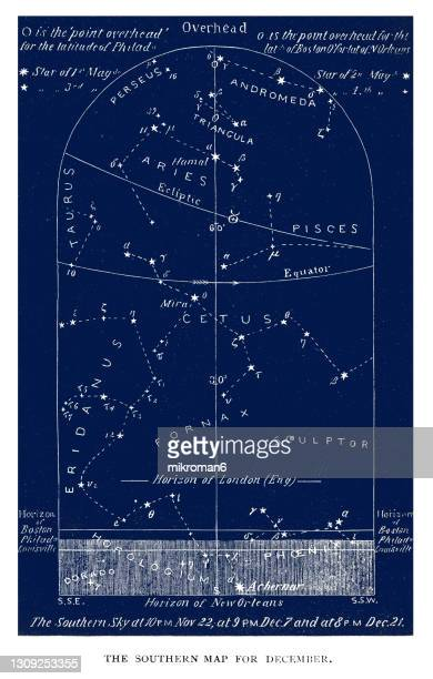 old engraved illustration of astronomy - southern night sky star chart december. sagittarius. nov 22-dec 21 - constellation stock pictures, royalty-free photos & images
