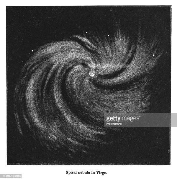 old engraved illustration of astronomy - spiral nebula in virgo - constellation stock pictures, royalty-free photos & images