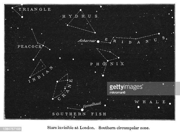 old engraved illustration of astronomy - stars invisible at london. southern circumpolar zone - astronomy stock pictures, royalty-free photos & images