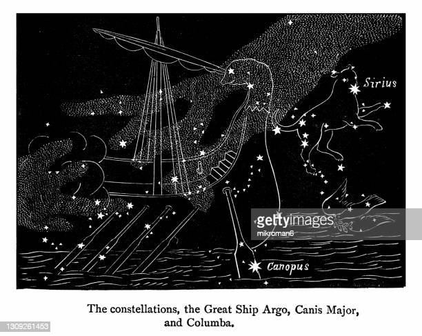 old engraved illustration of astronomy - the constellations, the great ship argo, canis major and columba - constellation stock pictures, royalty-free photos & images
