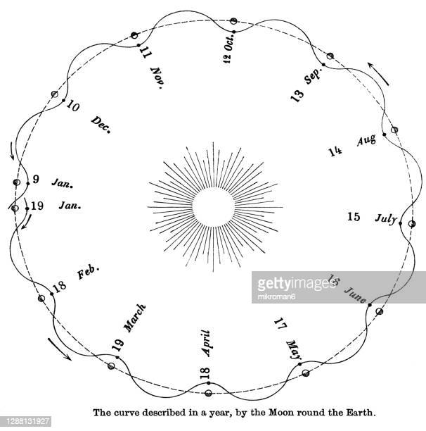old engraved illustration of astronomy, the curve described in a year, by the moon round the earth - twenty five cent coin stock pictures, royalty-free photos & images