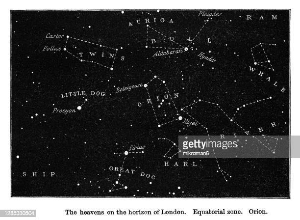 old engraved illustration of astronomy - the heavens on the horizon of london. equatorial zone. orion - astronomy stock pictures, royalty-free photos & images