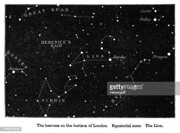 old engraved illustration of astronomy - the heavens on the horizon of london. equatorial zone. the lion - astronomy stock pictures, royalty-free photos & images