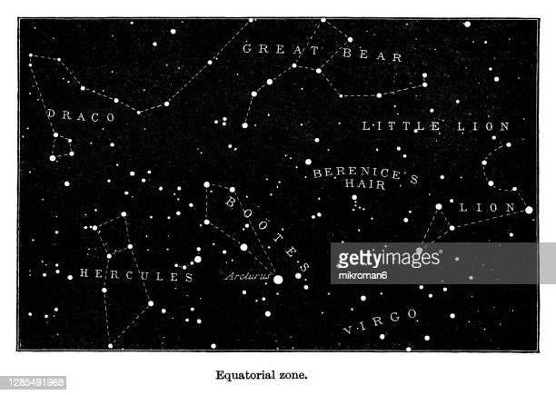 old engraved illustration of astronomy - the heavens on the horizon of london. equatorial zone. - astronomy stock pictures, royalty-free photos & images
