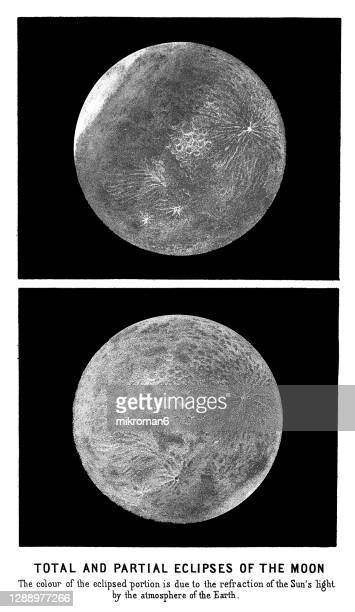 old engraved illustration of astronomy, total and partial eclipses of the moon - twenty five cent coin stock pictures, royalty-free photos & images