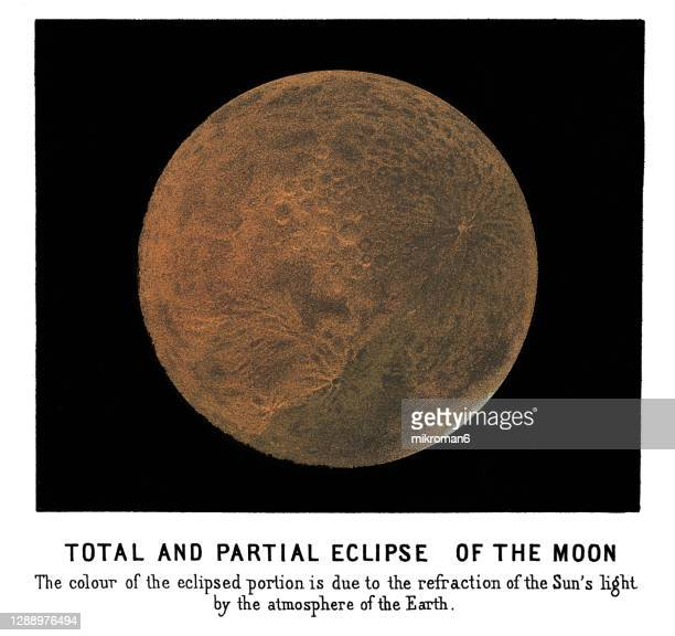 old engraved illustration of astronomy, total eclipse of the moon - twenty five cent coin stock pictures, royalty-free photos & images