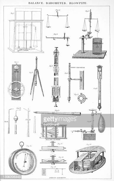 old engraved illustration of balance, blowpipe, barometer popular encyclopedia published 1894 - blowpipe stock pictures, royalty-free photos & images