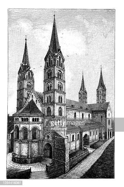 old engraved illustration of bamberg cathedral - romanesque architecture 9th-13th century - catholicism stock pictures, royalty-free photos & images