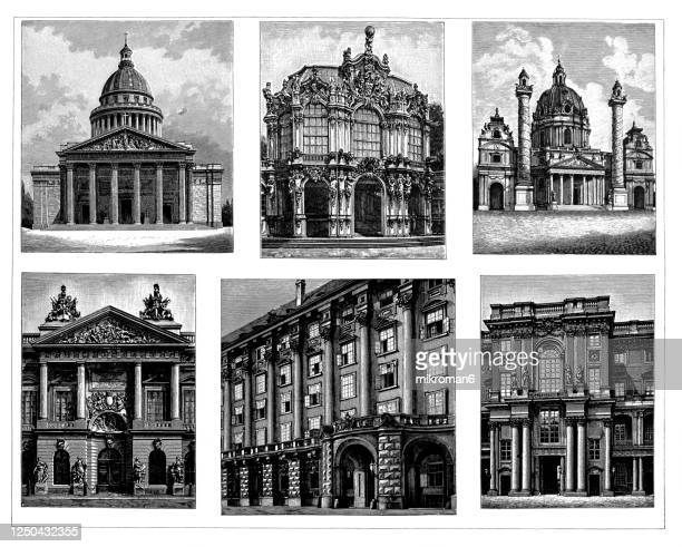 old engraved illustration of baroque and rococo architecture (17th and 18th centuries) - austria stock pictures, royalty-free photos & images