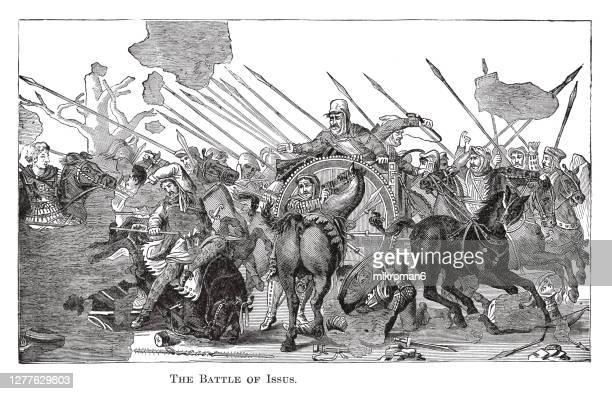old engraved illustration of battle of issus from the mosaic at pompeii. - the royal photographic society stock pictures, royalty-free photos & images