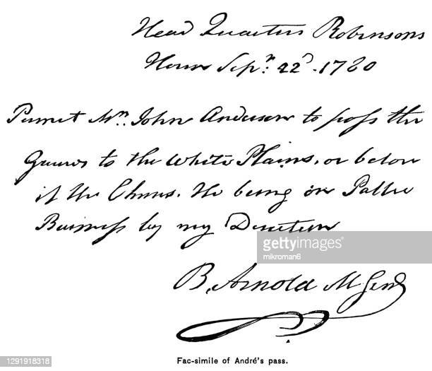 old engraved illustration of benedict arnold signature on a military pass given to british agent major john andre (1780) - major stock pictures, royalty-free photos & images
