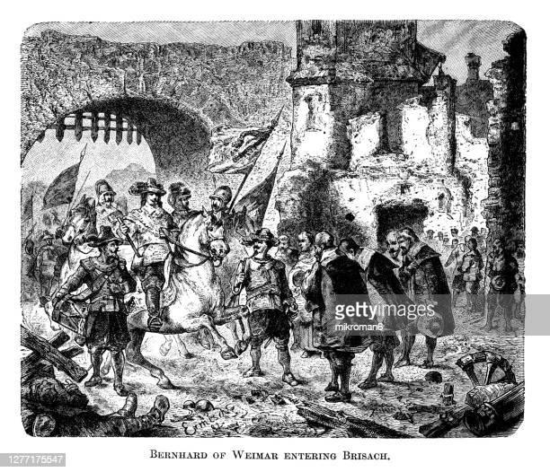 old engraved illustration of bernard of saxe-weimar (bernhard herzog von sachsen-weimar) entering brisach (breisach) - prime minister stock pictures, royalty-free photos & images