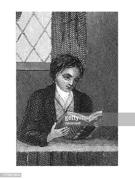 old engraved illustration of boy reading a book - painting stock pictures, royalty-free photos & images