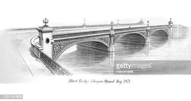 old engraved illustration of bridges - albert bridge, glasgow, popular encyclopedia published 1894 - river clyde stock pictures, royalty-free photos & images