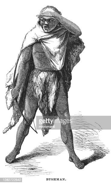 old engraved illustration of bushman - tribal art stock pictures, royalty-free photos & images