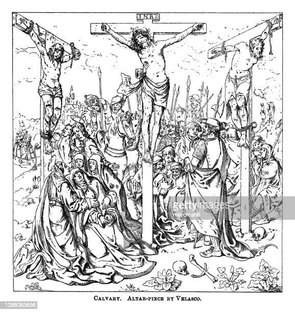 old engraved illustration of calvary, altar-piece by velasco - good friday stock pictures, royalty-free photos & images